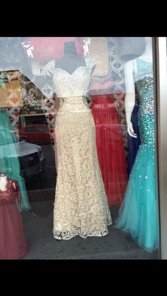 dress beige dress rhinestones prom lace beige prom dress sweetheart neckline