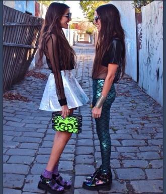 pants mermaid leggings leggings scales grunge alternative fashion green skirt