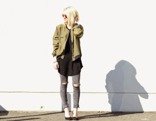 platinum and penniless blogger grey jeans ripped jeans army green jacket
