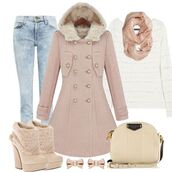 jeans,pink,fur,denim,white,colorful,bag,shoes