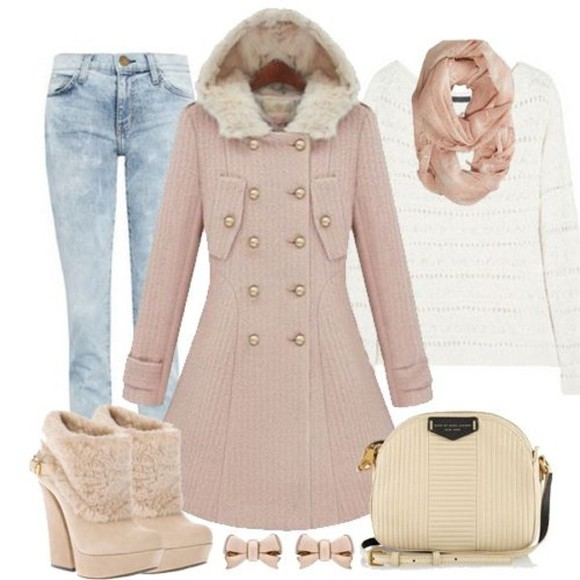 shoes bag fur jeans pink denim white color