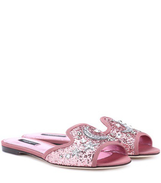 Dolce & Gabbana glitter sandals pink shoes