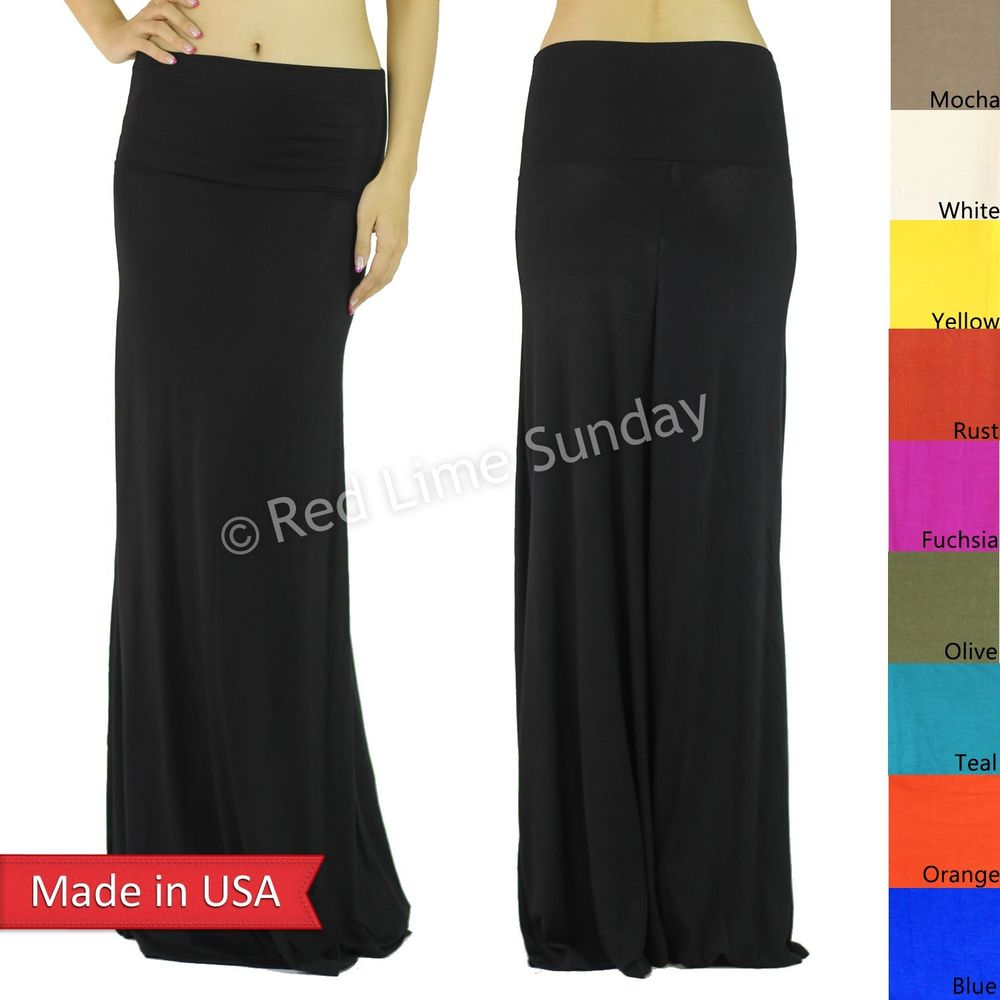 Women Rayon Solid Color Long Fold Over Waist Maxi Skirt Plus Size XL 2XL 3XL USA