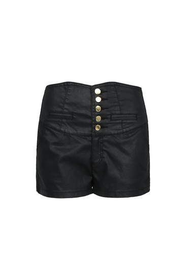 Black coated high waist shorts