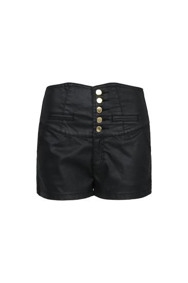 Black coated high waist shorts