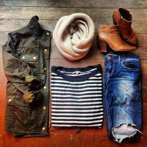 striped shirt jacket ripped jeans scarf