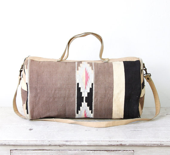Kilim ethnic travel bag turkish wool leather by salvagelife