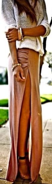 sweater grey sweater ombre sweater grey ombré sweater skirt long skirt open skirt pink skirt falda