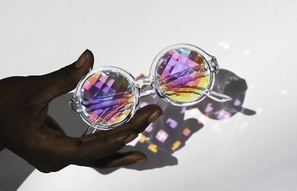 sunglasses purple purple glasses holographic unisex psychedelic kaleidoscope see through glasses tumblr circle shades