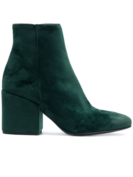STRATEGIA heel women heel boots leather velvet green shoes