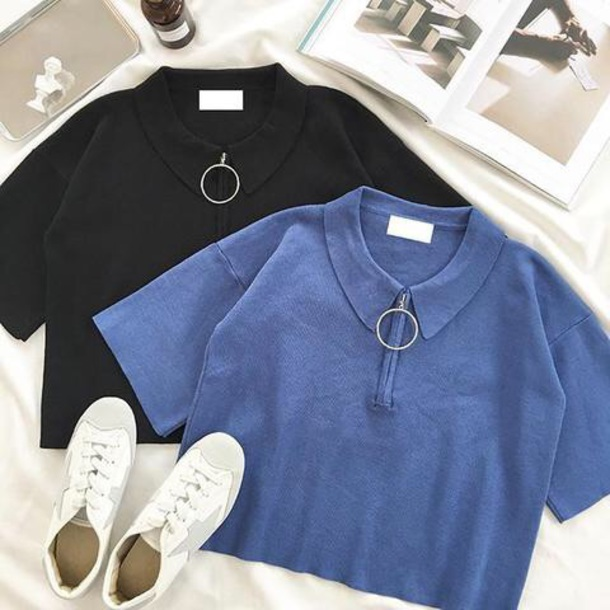 blouse girly black blue crop tops crop cropped half zip zip collar shirt