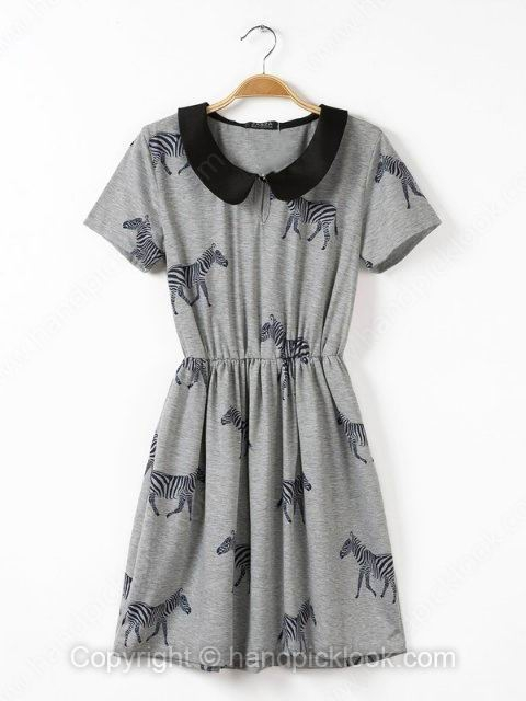 Grey Lapel Short Sleeve Zebra Print Dress - HandpickLook.com