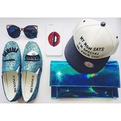 bag,cap,hat,shoes,clutch,eyes,blue,lips,white,holographic,iphone case,phone cover,flats