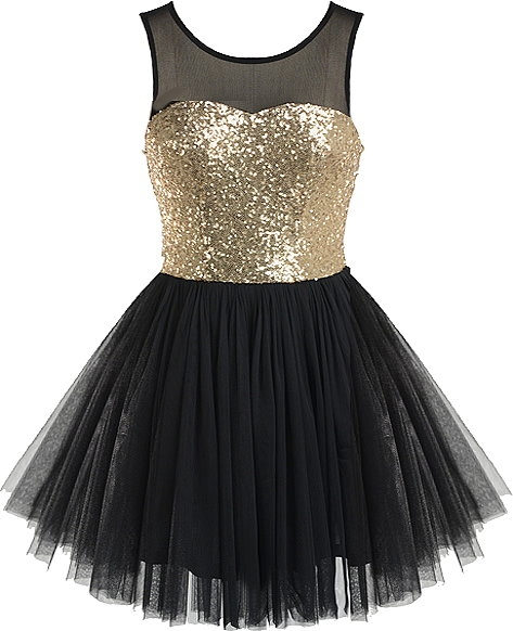 Golden Ballerina Dress | Black Gold Sequin Tutu Party Dresses | Rickety Rack