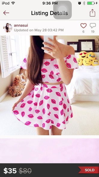 dress two piece dress set white and pink white and pink dress kissy lips skirt crop tops