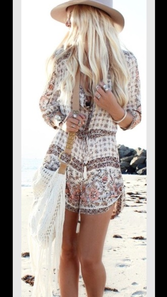 romper boho bohemian boho chic dress fashion haute couture jewelry summer floral boho dress hair make-up boho shirt