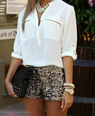 shorts pearls white blouse gold shorts
