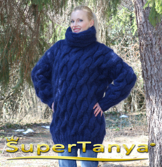 Extra thick hand knitted deep blue mohair sweater by supertanya