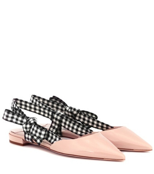 Miu Miu Patent leather slingback slippers in pink