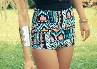 shorts high waisted shorts pattern funky frantic jewelry jewelry pink blue orange hipster aztec short colorful skirt tribal pattern printed shorts