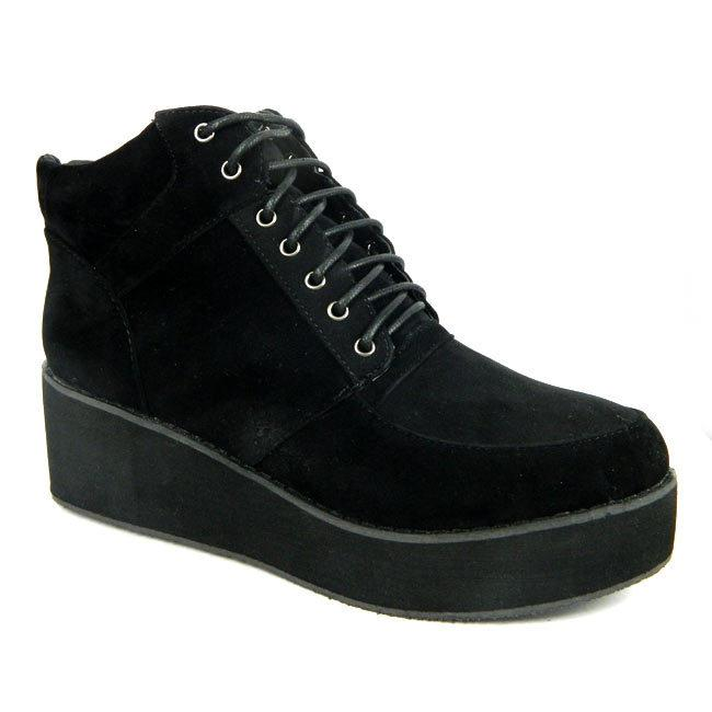 FLATFORM PLATFORM LACE UP ANKLE BOOT TRAINER CASUAL DESIGNER INSPIRED LOOK BLACK | eBay