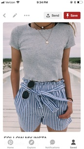 shorts,blue white striped,blue,white,stripes,black and white,tie shorts,preppy,shirt,grey t-shirt,paperbag shorts w blue  and  white,t-shirt,grey crop top hollister