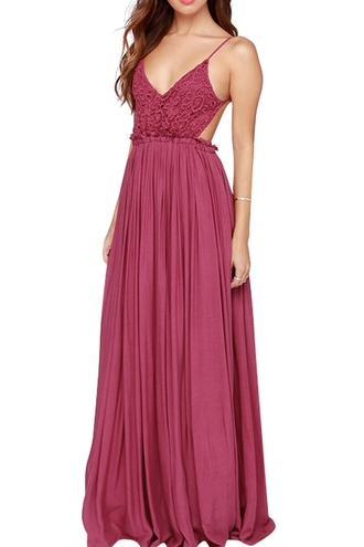 dress spaghetti strap backless lace pleated maxi dress red maxi straps
