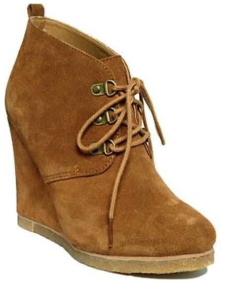 shoes brown shoes suade booties wedge booties