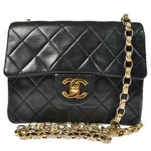 Auth Chanel Quilted Gold Chain Shoulder Bag Black Leather Vintage France H01861 | eBay