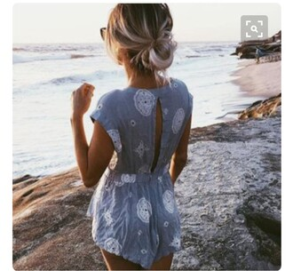 romper summer summer outfits summer holidays cute rompers 90s grunge romper blue romper white romper
