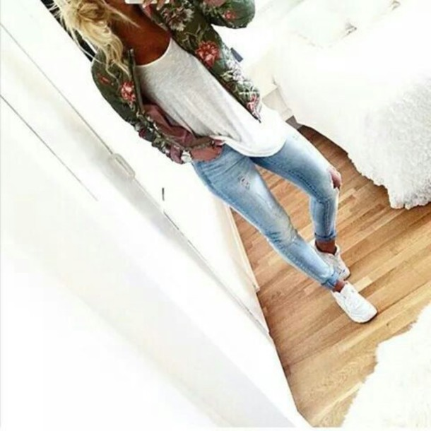 jacket floral white jeans jewels ripped jeans top t-shirt