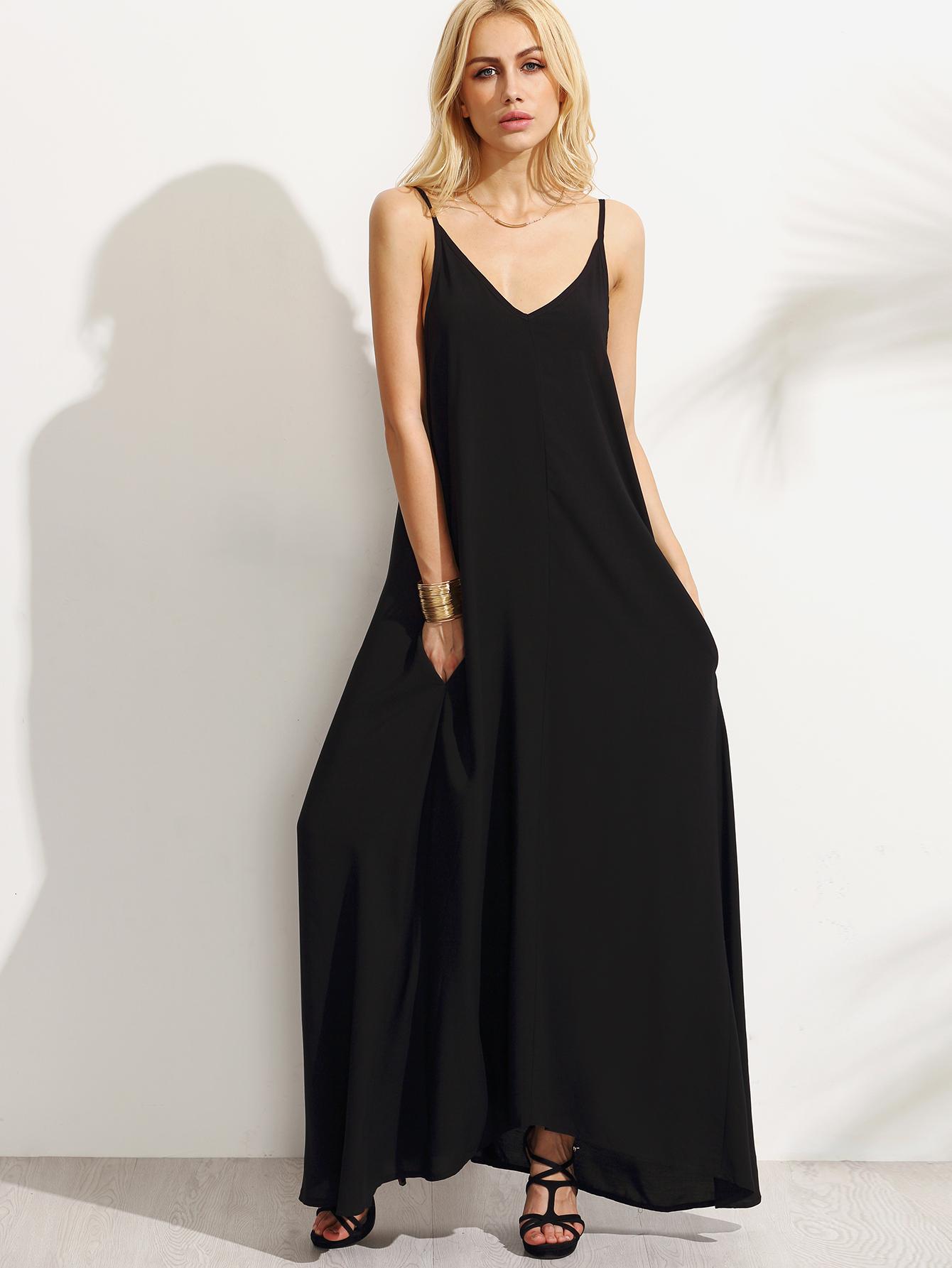 c4064235ae Black Spaghetti Strap Maxi Dress -SheIn(Sheinside)