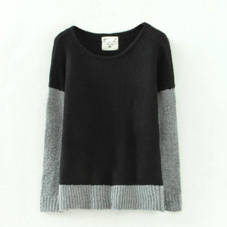 pullover bicolor black sweater grey sweater casual wear casual sweater split color winter outfits coldweather
