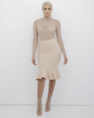 skirt midi skirt nude nude skirt fishtail skirt bodycon bodycon skirt