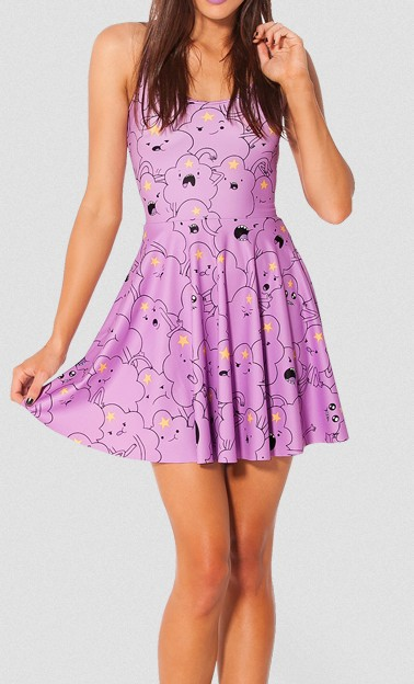 EAST KNITTING FASHION BL 341 New Women Cartoon Adventure Time Lumpy Space Princess Reversible Skater Dress S M L XL Plus Size-in Dresses from Apparel & Accessories on Aliexpress.com