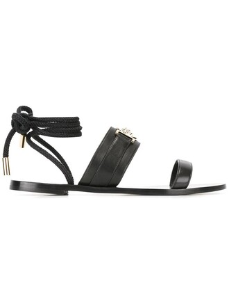 women sandals lace leather black shoes