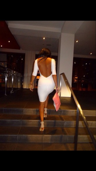 dress backless dress white dress