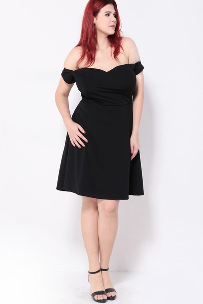 dress, plus size dress, black dress, off the shoulder dress ...