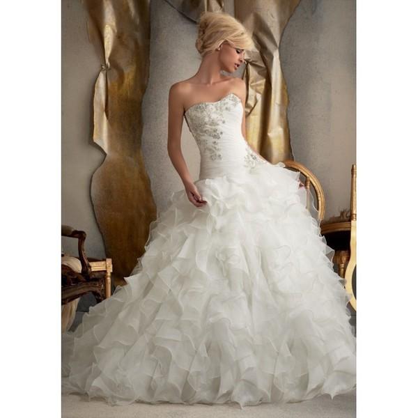 Mori Lee 1910 Drop Waist Ruffle Ball Gown Wedding Dress