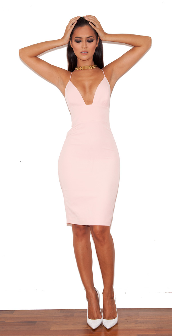Clothing : bodycon dresses : 'loren' pink bralet shape bodycon dress