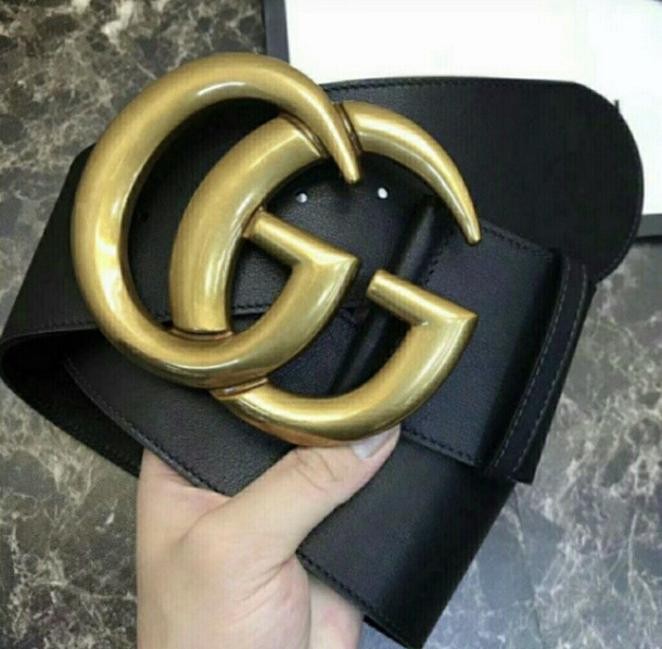belt black gucci extra wide gold buckle