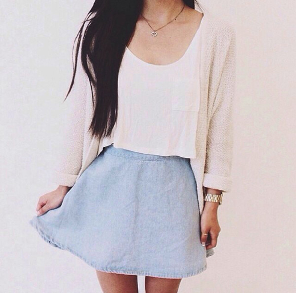 skirt sweater jewels tank top