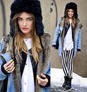 hat,beanie,faux fur,jacket,jeans,shoes