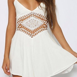 dress white dres open stomach white lacey dress short dress