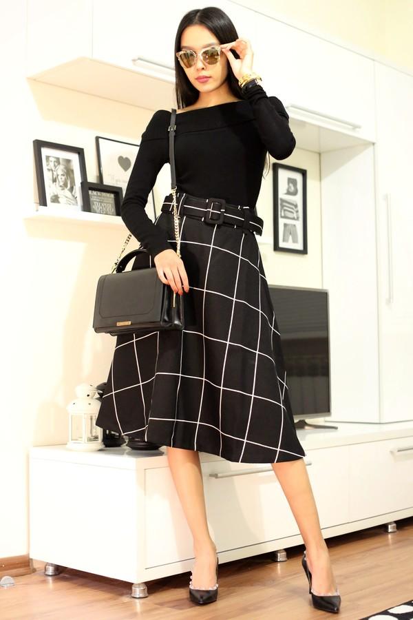 aibina's blog blogger grid midi skirt black skirt