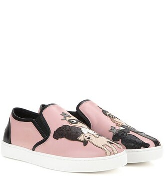 sneakers leather pink shoes
