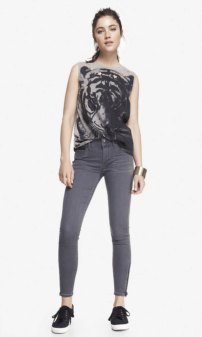 MID RISE ANKLE ZIP JEAN LEGGING from EXPRESS