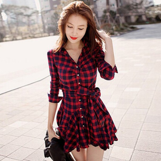 dress plaid plaid dress red dress red red plaid bow fashion cute red and black dress black dress tartan dress