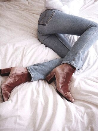 shoes pink boots velvet boots boots high heels boots jeans denim blue jeans velvet pink shoes dusty pink crushed velvet heel boots