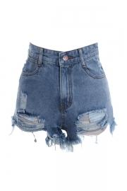 High Waist Destroy Effect Shorts - OASAP.com